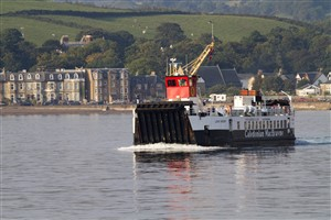 CalMac Cumbrae ferry MV Loch Riddon, with north Largs in the background